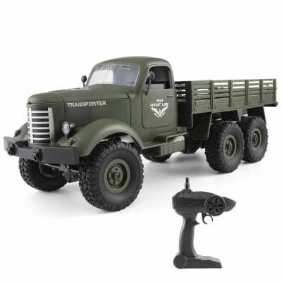 JJR/C Q60D 1/16 2.4G 6WD RC Off-road Military Truck Transporter-1 Army Car DIY Toy (Green)