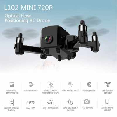 L102 Mini RC Drone with Camera 720P Wifi FPV Optical Flow Positioning Smart Follow Gesture Photo Foldable Quadcopter (Black)