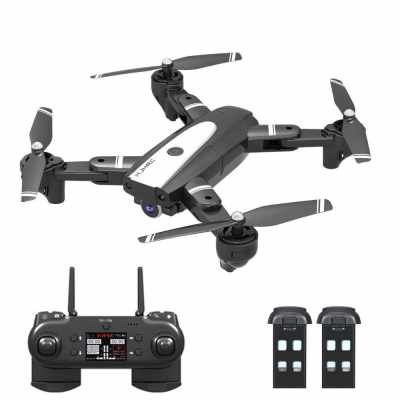HJ68 RC Drone with Camera 720P RC Quadcopter with Headless Mode Auto Hover 360°  Rotation Trajectory Flight 2 Battery (Black)
