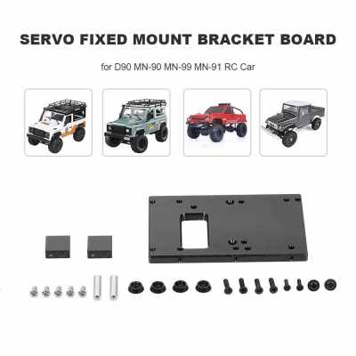Aluminum Alloy Servo Fixed Mount Bracket Board for D90 MN-90 MN-99 MN-91 FJ-45 RC Car 1/12 Rock Crawler Upgrade Parts (Black)