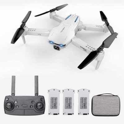GoolRC S162 RC Drone with Camera GPS Adjustable Wide Angle 4K 5G WIFI Gesture Photo Video MV FPV RC Quadcopter Follow Me Drone for Adults 3 Battery (Grey)
