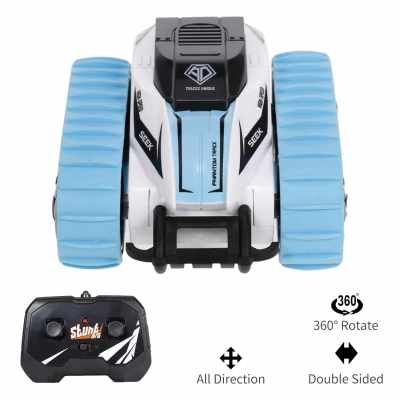 RC Car 2.4G Remote Control 4WD Stunt Car Track Double Sided 360° Rotating Vehicles RC Car Toy Gift for Kids Boys Girls (Blue)