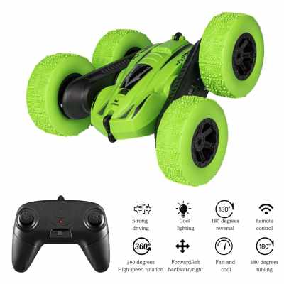 RC Car Remote Control Stunt Car 4WD Remote Control Car Double Sided Rotating Vehicles 360° Flips LED lights for Kids Boys Girls (Green)