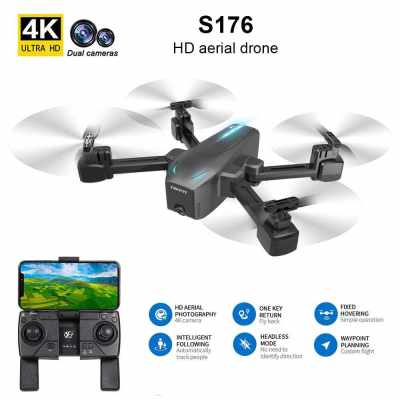 CSJ S176 RC Drone with Camera 4K Drone Dual Camera RC Drone WIFI FPV Gesture Photo/video Optical Flow Positioning Headless Mode Quadcopter 2 Battery (Black-1)