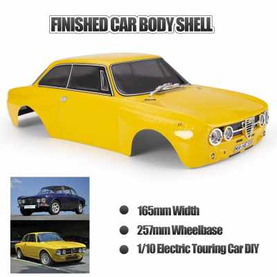 Killerbody 48321 RC Car Body Shell Kit for 257mm Wheelbase for 1/10 RC Touring Car Frame Printed Finished Car Body Imitate Alfa Romeo 2000 GTAm (Yellow)