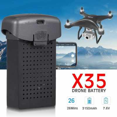 For X35 RC Drone Battery 7.6V 3150mAh Lipo Replacement Battery Modular Battery for RC Quadcopter (Black)