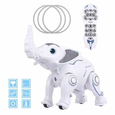 K17 Wireless Elephant Robot RC Robot Bionic Actions Program Sing Dance Tell Story Interactive Toy for Boys Girls Children Birthday Gift Early Education (Standard)