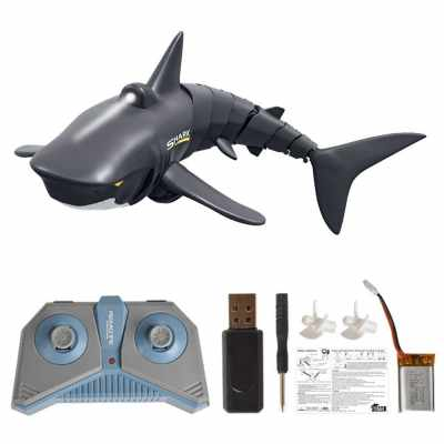 Mini RC Shark Remote Control Toy Swim Toy Underwater RC Boat Electric Racing Boat Spoof Toy Pool (Black)