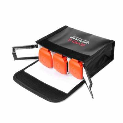 Replacement for Autel EVO II Drone Portable LiPo Battery Safety Storage Bag Heat Resistant Fire Resistant Storage 3 battery Guard Pouch (Black)