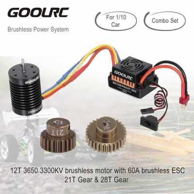GoolRC 12T Motor 3650 3300KV Brushless Motor 60A ESC Electronic Speed Controller 5.8V/3A BEC 21T Gear 28T Gear for 1/10 RC Car Crawler Truck (Standard)