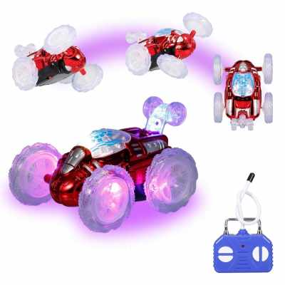 Remote Control Stunt Car RC Car Toy with Flashing LED Lights 360° Tumbling for Kids Boys Girls (Standard)