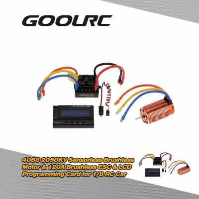 GoolRC 4068 2050KV Sensorless Brushless Motor & 120A Brushless ESC with 6V/3A Switch Mode BEC & LCD Programming Card Combo Set for 1/8 RC Car (Standard)