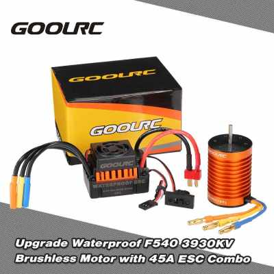 GoolRC Upgrade Waterproof F540 3930KV Brushless Motor with 45A ESC Combo Set for 1/10 RC Car Truck (Black Red)