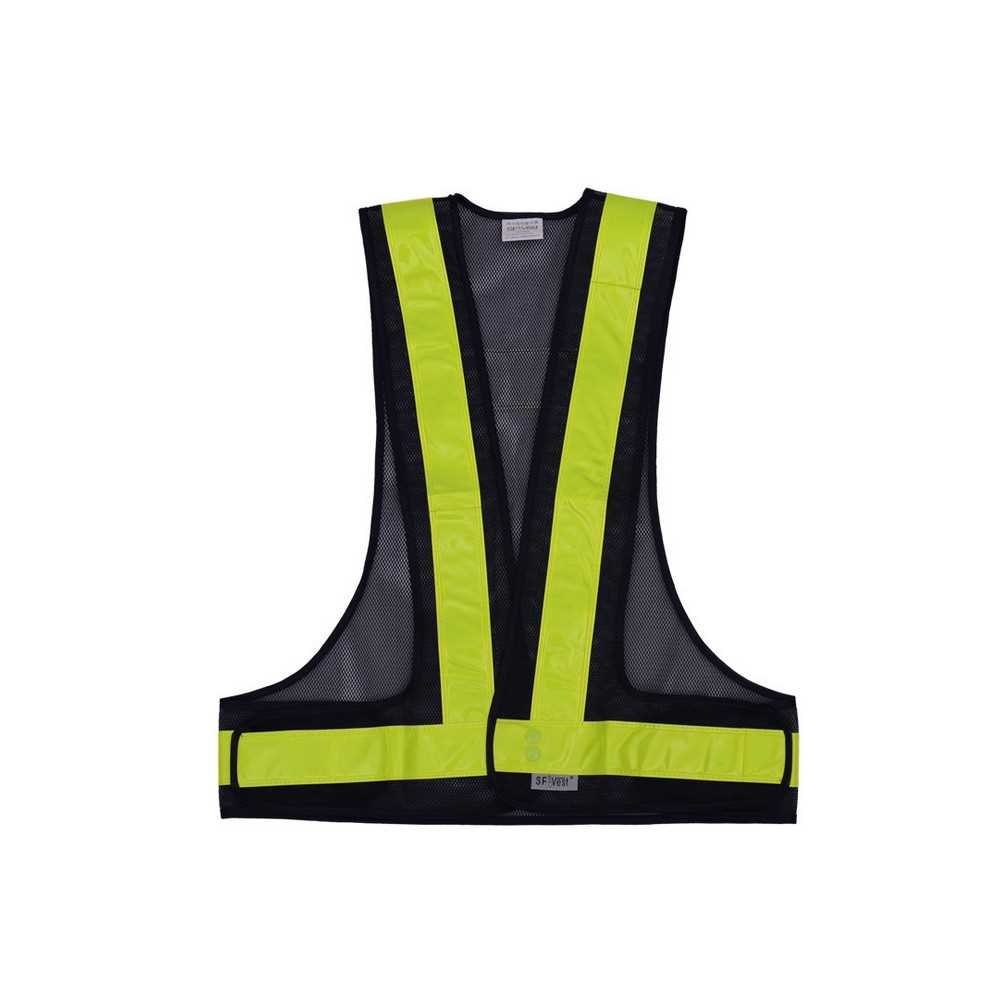 [ London ] SFVest High Visibility Reflective Vest Reflective Safety Strap Vests Workwear Security Working Clothes Day Night Cycling Running Traffic Warning Safety Waistcoat (Black & Yellow)