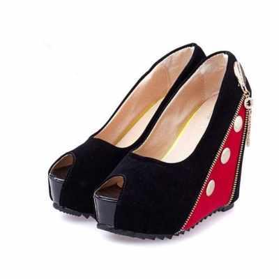 Women High Wedges Peep Toe Platform Sole Zipper Pumps High Heels Red (R36)
