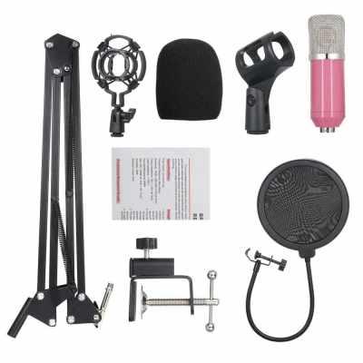 Professional BM700 Condenser Microphone Mic KTV Singing Studio Recording Kit Pink (Pink)