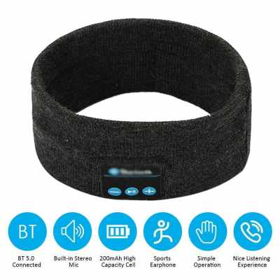 BT5.0 Connected Music Knitted Headband Headwear Headphone One-click Answering Phone Call/ Volume Adjustment/ Built-in Microphone 200mAh High Capacity Rechargeable Cell for Adult Outdoor Sport Foldable Portable Present Gift (Dark Gray)