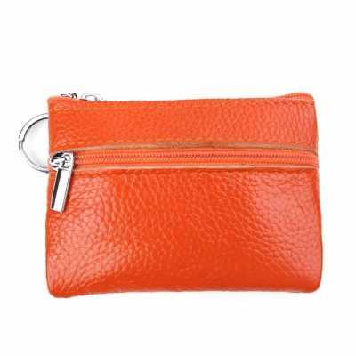 Genuine Leather Zipper Mini Coin Storage Purse (Orange)