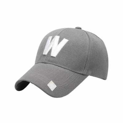 Classic W Letter Baseball Hat Outdoor Travelling Couple Peaked Cap Simple Sunshade Monogrammed Cap (Grey)