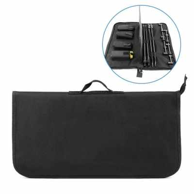 Padded Fishing Tool Storage Bag Fishing Buzz Bar Organizer Fishing Bait Alarm Pouch Fisihing Bank Stick Bag (Black)
