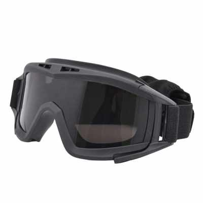 Military Airsoft Tactical Goggles Shooting Glasses 3 Lens Motorcycle Windproof Game Goggles (Black)