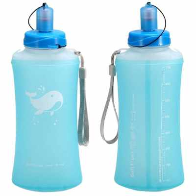 Outdoor Camping Hiking Foldable Water Bottle (Light Blue)