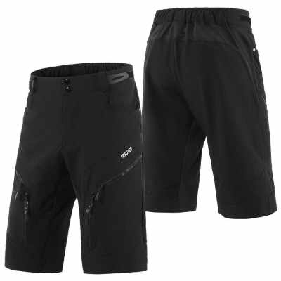 Men Cycling Shorts Quick Drying Breathable Outdoor Sports Running Bike Riding Casual Shorts with 6 Pockets (Black)