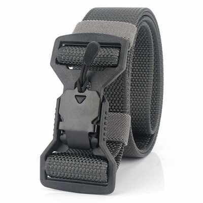 Adjustable Webbing Belt Men Women Belts 49.2 Inch with Quick Release Magnetic Buckle for Camping Hiking (Black & Grey)