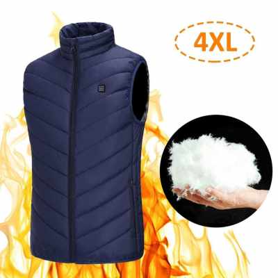 Heating Vest Warmer Thermal Waistcoat USB Powered Operated 3 Levels Adjustable Temperature High Collar Zipper Design 4XL Size Dark Blue for Outdoor Activities Climbing Skiing Hiking Cycling Present Gift (Dark Blue)