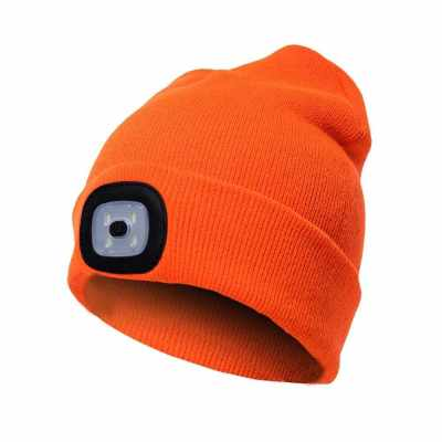Unisex Kintted Hat Built-in 4Pcs Led Lights Autumn Winter Warm Beanie Cap Outdoor Flashlight Lamp for Camping Hiking Fishing Walking Running (Orange)