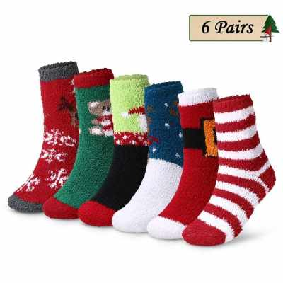 6 Pairs Christmas Holiday Socks Adults Winter Cozy Socks Patterned High Tube Crew Socks Women (2)