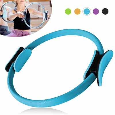 16 Inch Yoga Pilates Ring Workouts Exercise Fitness Resistance Training Circle (Blue)