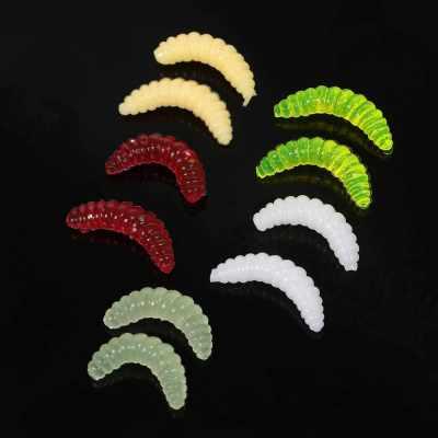 Lixada 100pcs 2cm Fishing Lures Set Maggot Grubs Worms Soft