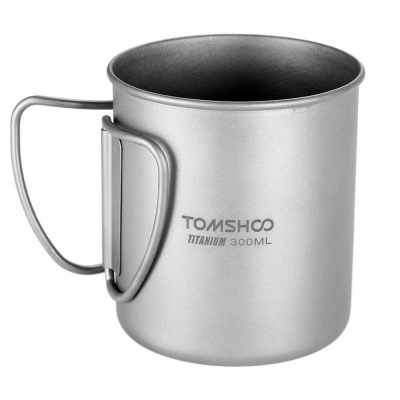 TOMSHOO 300ml Titanium Cup Outdoor Portable Camping Picnic Water Cup Mug with Foldable Handle