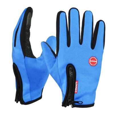 Lixada Touchscreen Cycling Gloves Windproof Winter Outdoor Sports Bike Riding Gloves Hand Warmers Skiing Mountaineering Motorcycle Racing (blue)