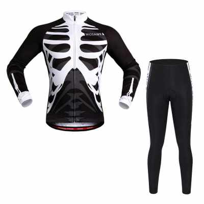 WOSAWE Long Sleeve Cycling Jersey Sets Breathable 4D Padded Pants Sportswear Mountain Bicycle Bike Apparel Cycling Clothing (black)