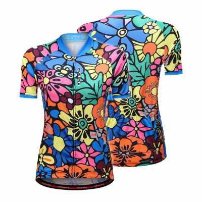 Short Sleeve Cycling Jersey for Women Flower-printed Quick Dry Summer MTB Bike Shirt Riding Clothing (M)