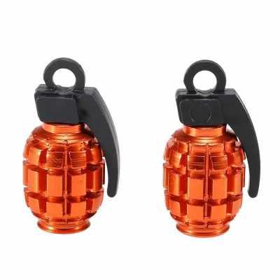 2Pcs Bicycle Valve Caps Air Valve Caps Tyre Valve Dust Covers (Orange & Red)