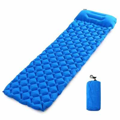 Ultralight Air Sleeping Pad Inflatable Camping Mat with Pillow (Blue2)