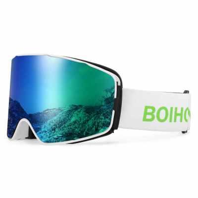 UV400 Skiing Goggles OTG Snow Sports Goggles Anti-fog Snowboard Climbing Goggle Men Women Ski Glasses (Green)