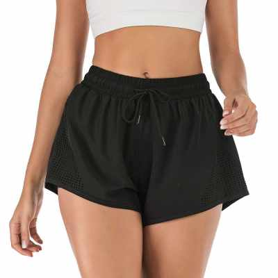 Women Sport Shorts Summer Hip Yoga Fitness Sportswear Fake two-piece Quickly-dry Hot Workout Running Shorts (Bm)