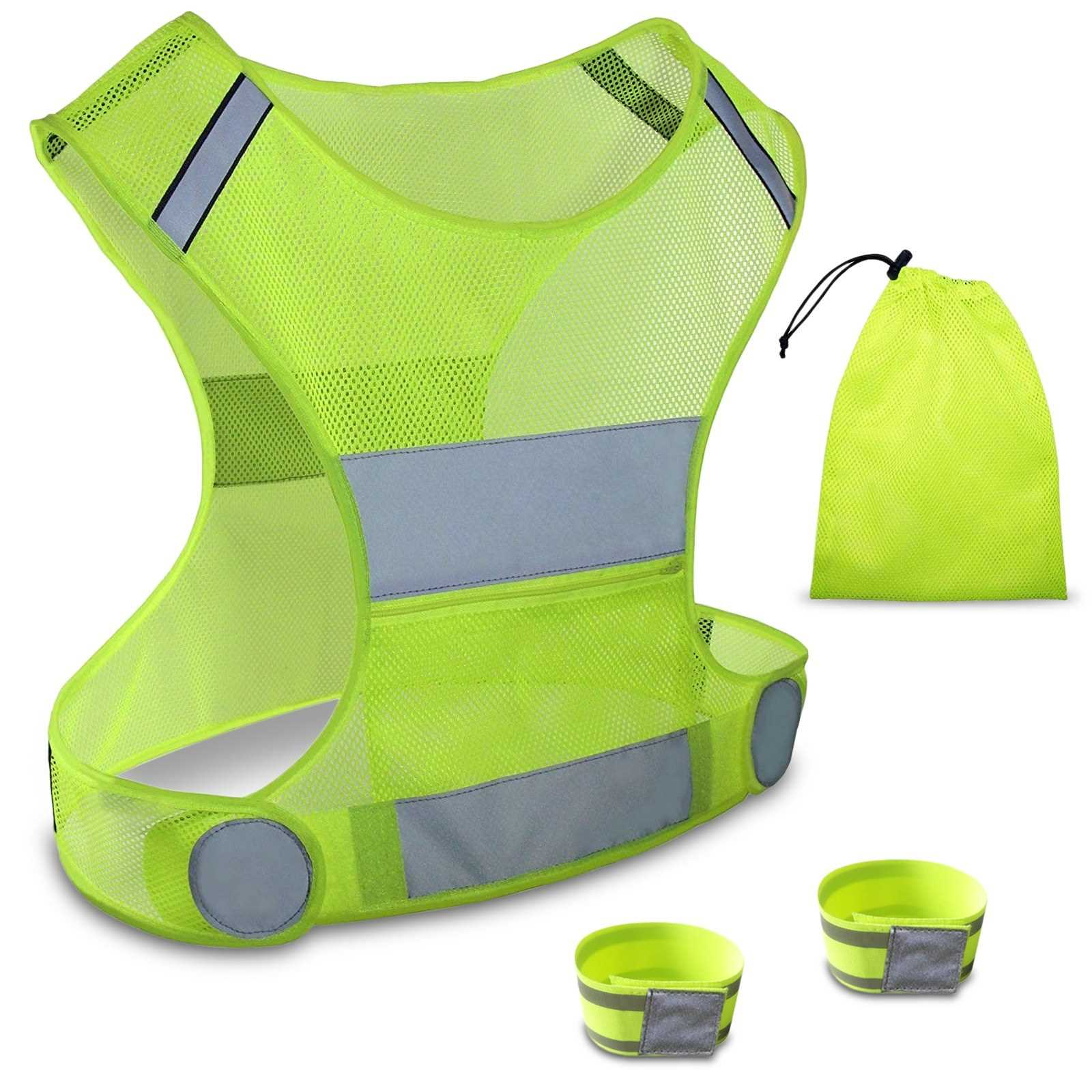 [ Estle ] Adjustable High Visibility Reflective Vest with Reflective Wrist Arm Bands Safety Gear for Night Cycling Jogging Running (Standard)