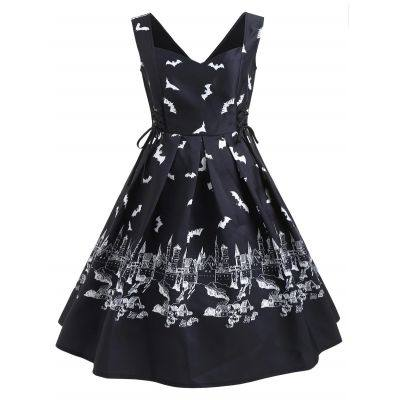 Halloween Bats Print Vintage Dress (BLACK)