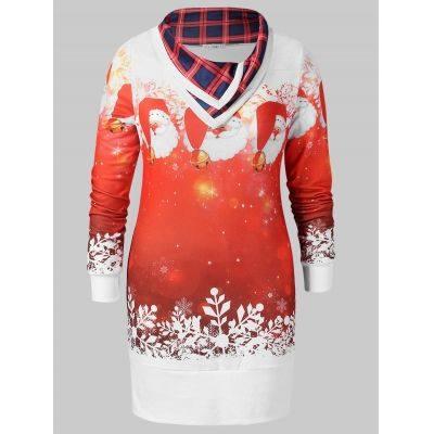 Christmas Plus Size Santa Claus Print Sweatshirt (WHITE)